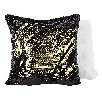 Amazon.com: Negro y oro Reversible cojín de lentejuelas ...