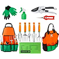 Garden Tool Set, UKOKE 12 Piece Aluminum Hand Tool Kit, Garden Canvas Apron with Storage Pocket, Outdoor Tool, Heavy Duty Gardening Work Set with Ergonomic Handle, Gardening Tools for Women Men