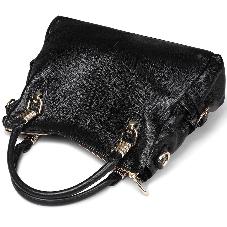 91ff3b396178 Amazon.com  AINIMOER Womens Genuine Leather Vintage Tote Shoulder Bag  Top-handle Crossbody Handbags Large Capacity Ladies  Purse (Black)  Shoes