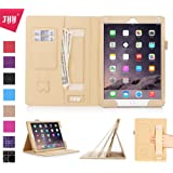 iPad Air 2 Case, iPad Air 2 Cover, Fyy® [Luxurious Protection] Premium PU Leather Case Smart Auto Wake/Sleep Cover with Elastic Hand Strap, Card Slots, Pocket for iPad Air 2 Gold