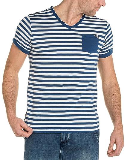 V 74 à Tee Shirt Rayures Homme Blanc Amazon et Deeluxe Bleu col HCnd1Cvx