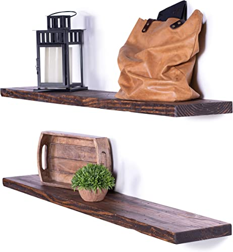 DAKODA LOVE Rugged Distressed Floating Shelves USA Handmade Wall Mounted Hidden Single Bar Floating Shelf Bracket Farmhouse Rustic Pine Wood Set of 2 Bourbon, 48 L x 8 D
