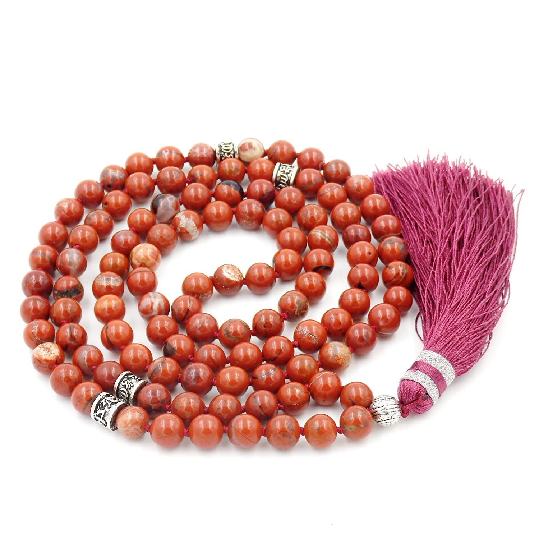 collana di perline mala, perline mala braccialetto, rosario buddista collana, tassel collana Malahill M001