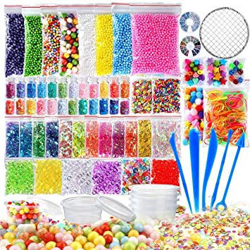Craftmen 72 Pcs Slime Kit incluyen bolas pecera, Bolas espuma, Glitter, confeti,