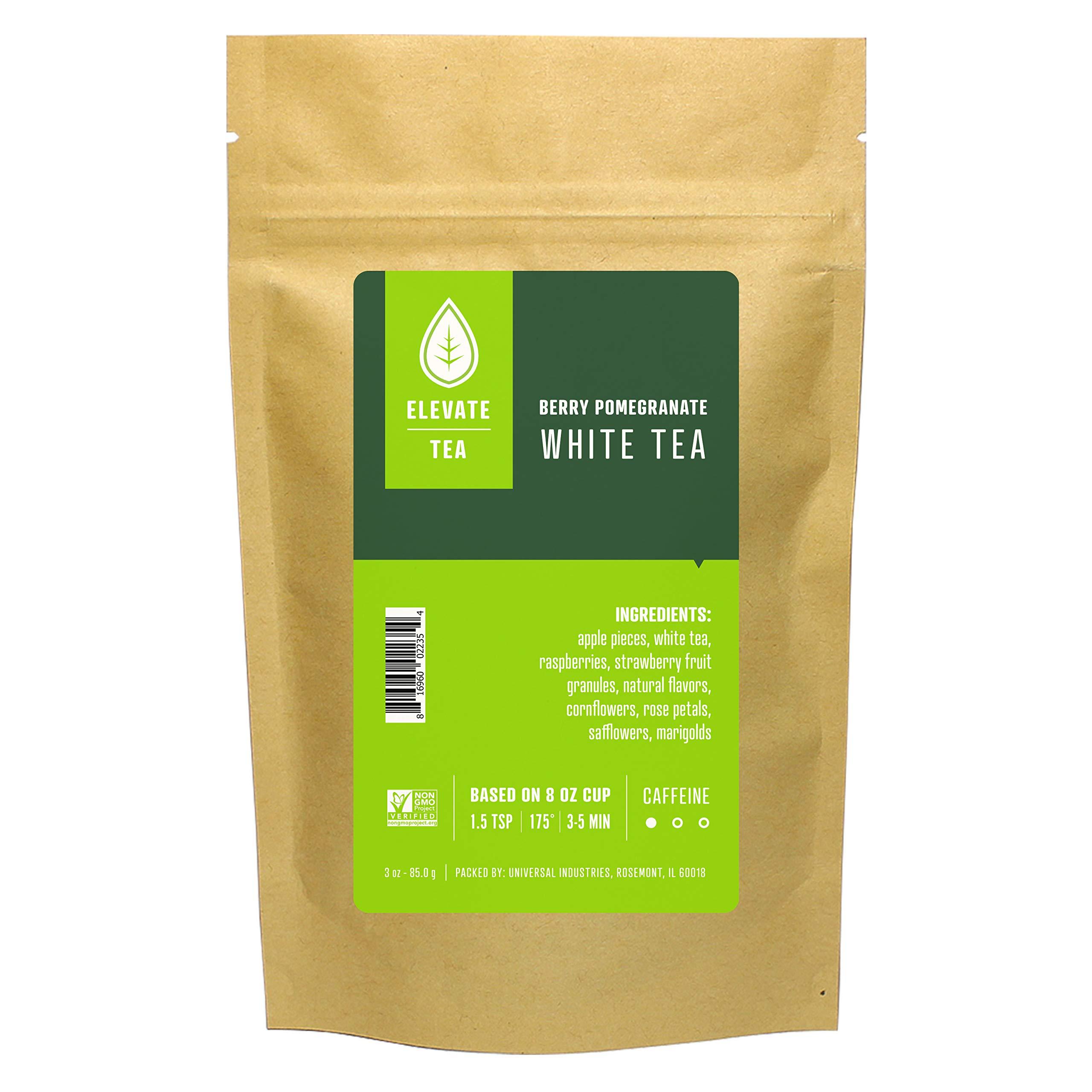 Elevate Tea BERRY POMEGRANATE WHITE TEA, Loose Leaf Tea Blend, 90 servings, 3-Pack of 3 Ounce Pouches, Caffeine Level: Medium