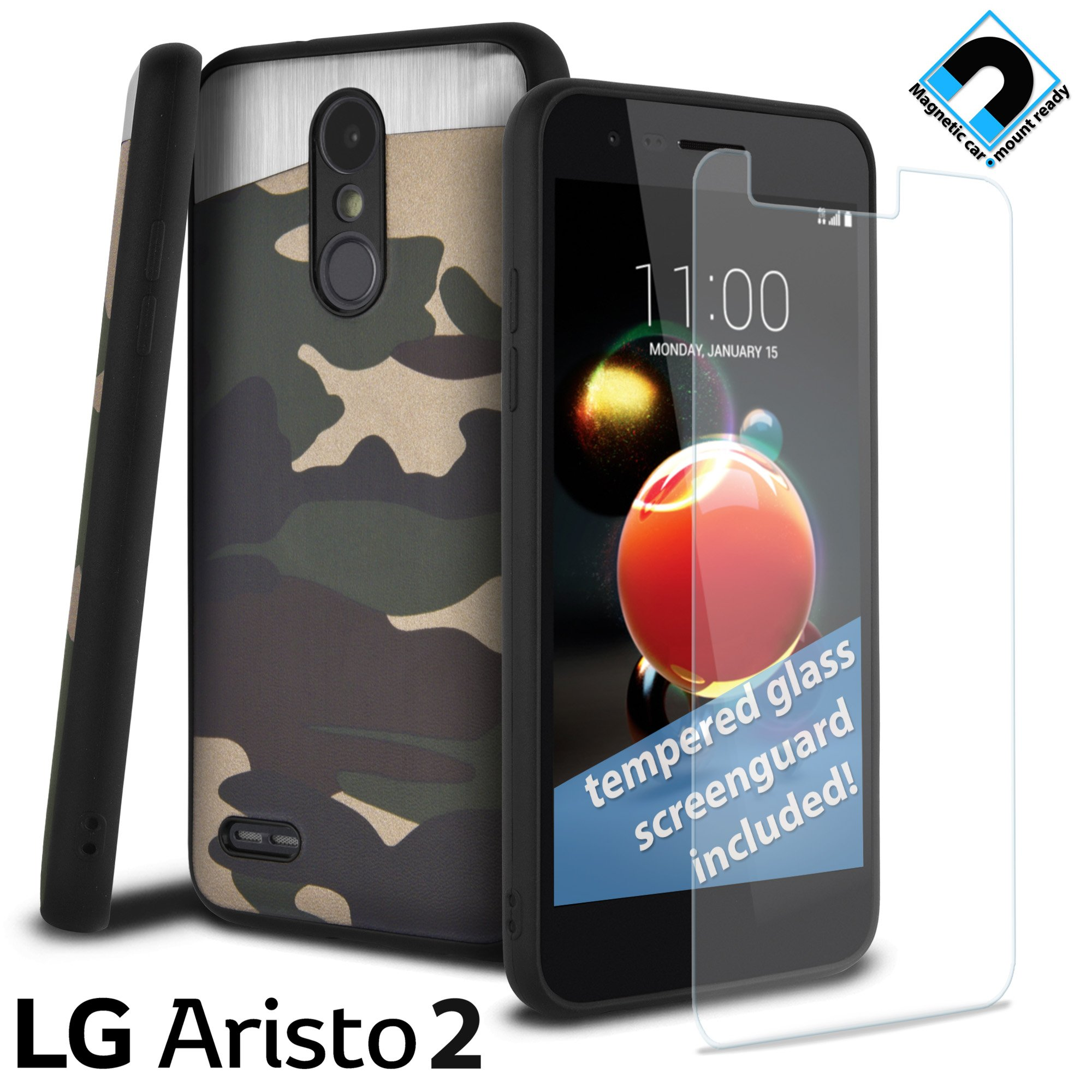 LG Aristo 2 Case, LG Tribute DYNASTY Case, LG X210, Celljoy -SLIM TPU- [Includes Tempered Glass Screen Protector] - [Magnetic Car Mount Ready] Hybrid Slim Thin Case (Blade Camo Green)