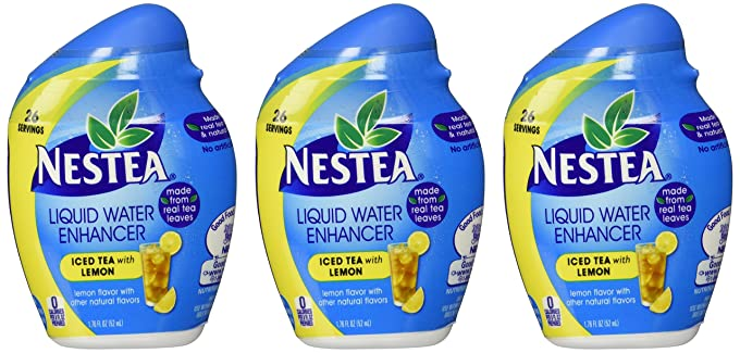 Nestea, Iced Tea, Liquid Water Enhancer, 1.76oz Container (Pick Flavor) (Pack of 3) (with Lemon Flavoring)
