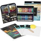 MEEDEN 40 Pcs Oil Painting Kit with 24x12ML Oil Paint Set, 10 Oil Paintbrushes, Canvas Panel, Oil Painting Pad, Palette…