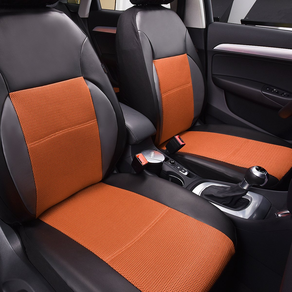 CAR PASS 6 Pieces Universal Two Front Leather Car Seat Covers Set Balck and Khaki LJ