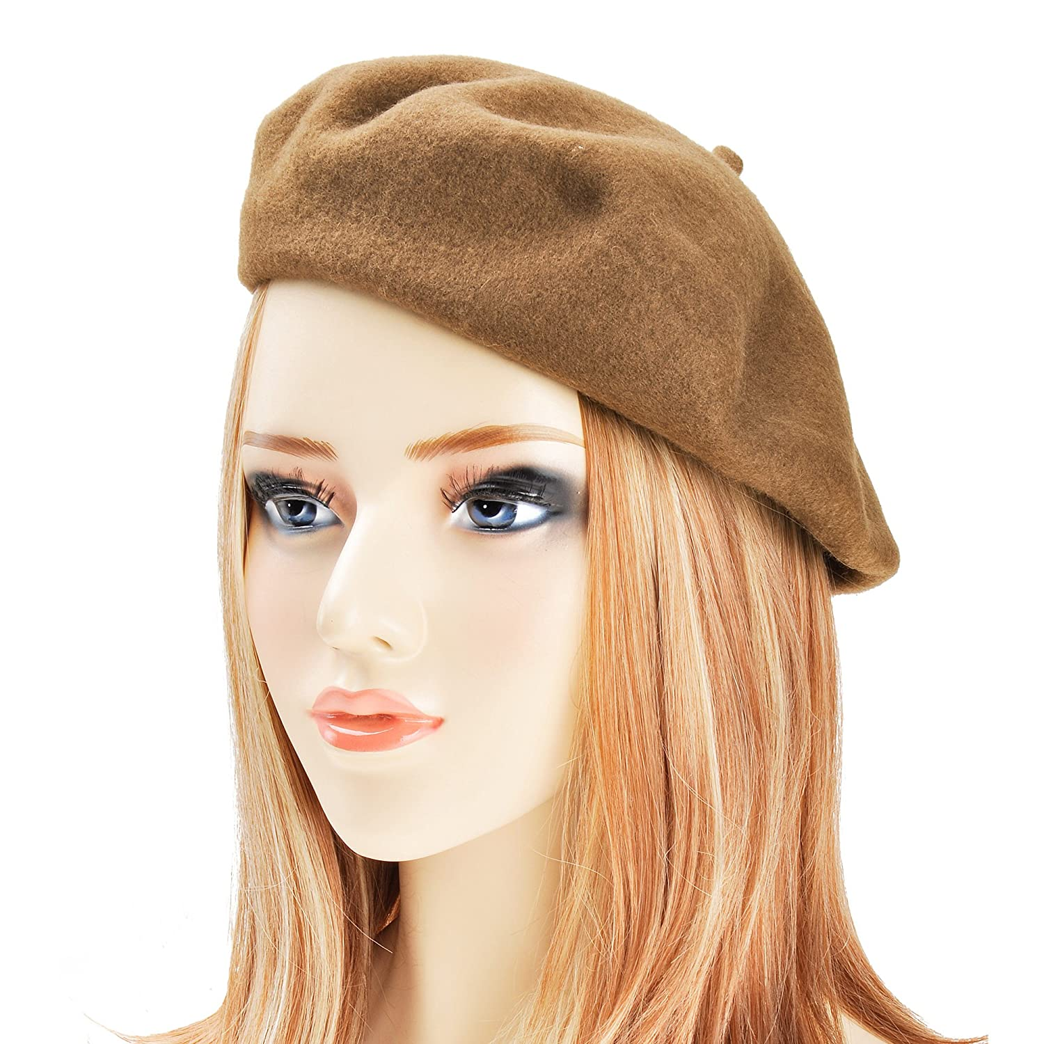 ZLYC Wool Beret Hat Classic Solid Color French Beret for Women by ZYJ-MZ-046-green