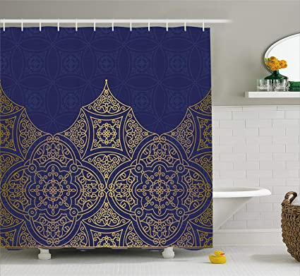 Lunarable Navy Blue And Yellow Shower Curtain Middle Eastern Style Ornament Ottoman Culture Inspired Pattern