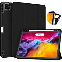 Soke New iPad Pro 11 Case 2020 with Pencil Holder, Full Body Protective + Apple Pencil Charging, Auto Wake/Sleep Soft TPU Back Cover for 2020 iPad Pro 11 inch(Black)