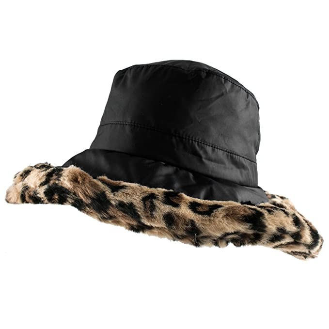 Morehats Plush Bucket Hat with Faux Fur Warm Outdoor Ski Winter Hat ... 39deb46c109