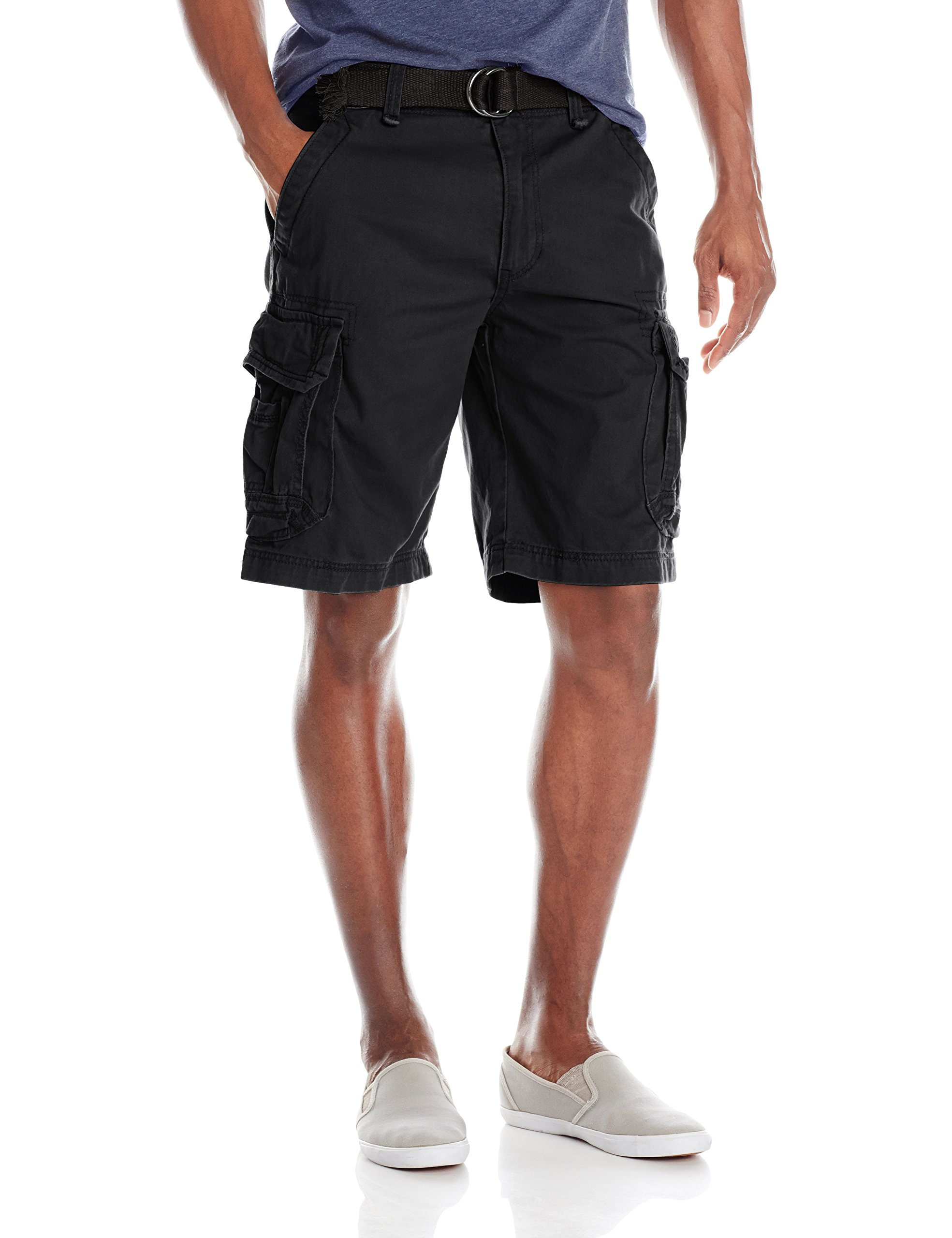 Unionbay Men's Survivor Belted Cargo Short, Black, 30