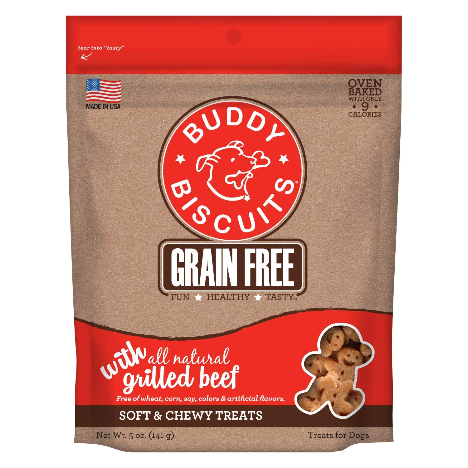 Buddy Biscuits Grain Free Soft Chewy Healthy Dog Treats, Low Calorie