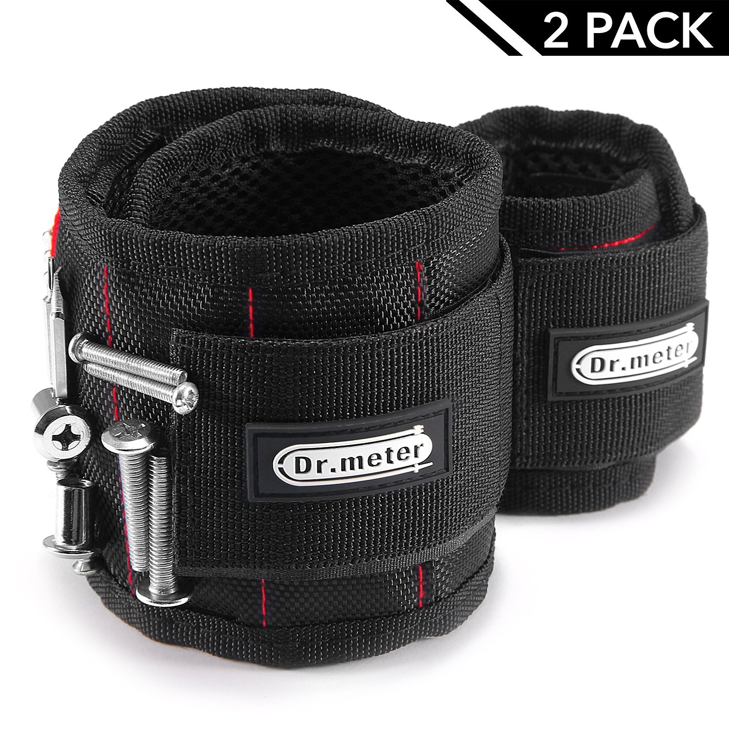 2 Packs Magnetic Wristband, Dr.meter Magnet Tool Wristband Belt with Super Strong 15 magnets for Holding Screws, Bolts, Nails and Drill Bits