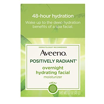 Aveeno Positively Radiant Overnight Hydrating Facial Moisturizer with Soy  Extract and Hyaluronic