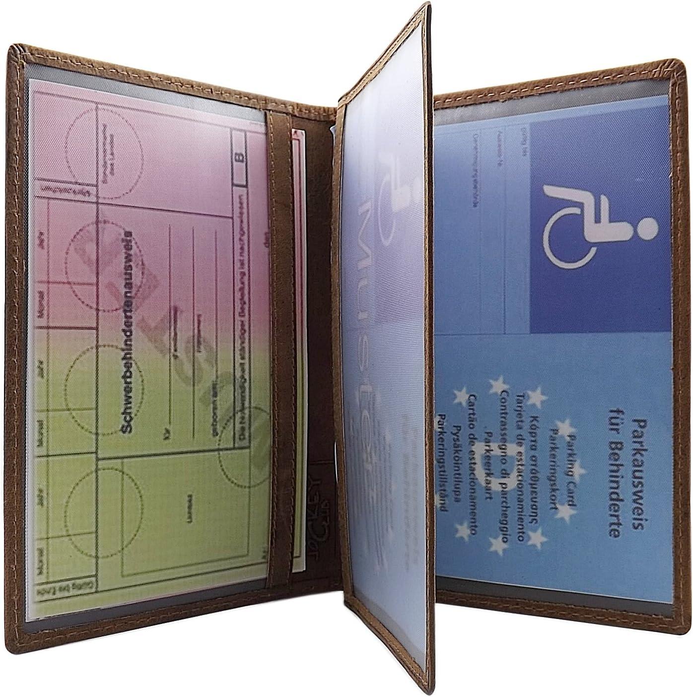 Cuir de Buffle Pochette de Carte didentit/é avec cerf- Sanglier- Cerf Motif ou Poisson Motif en Marron