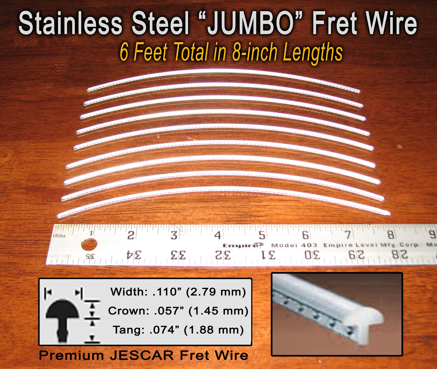 Guitar/Bass Fret Wire - Jescar Stainless Steel JUMBO - Six Feet