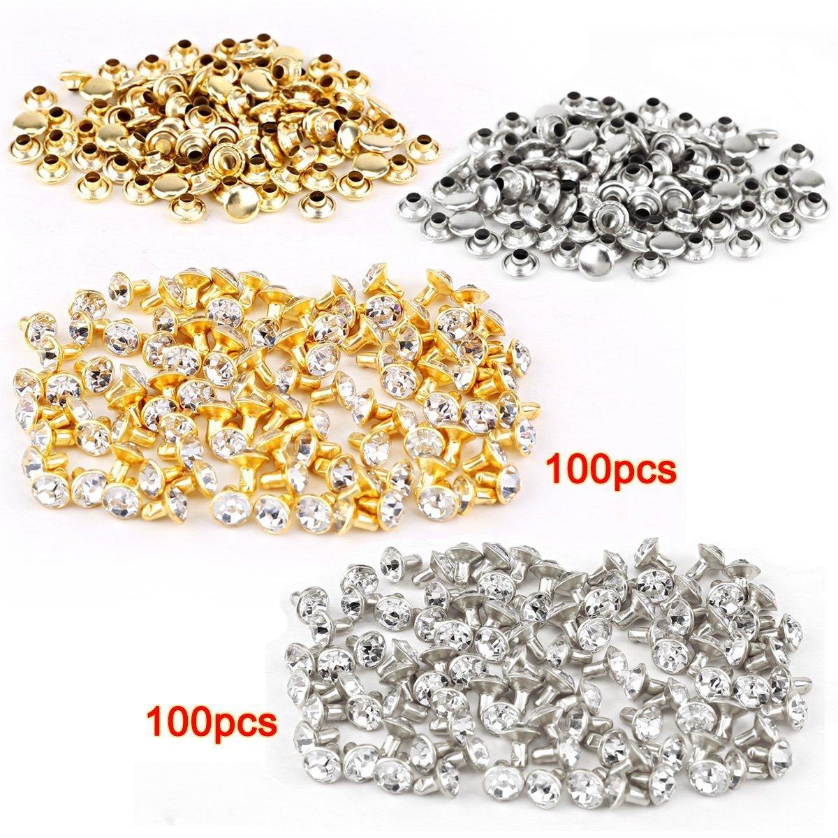 Rivet-SODIAL(R) 100pcs silver + 100 pcs golden Rivet with rhinestone diamond 7mm AEQW-WER-AW124583