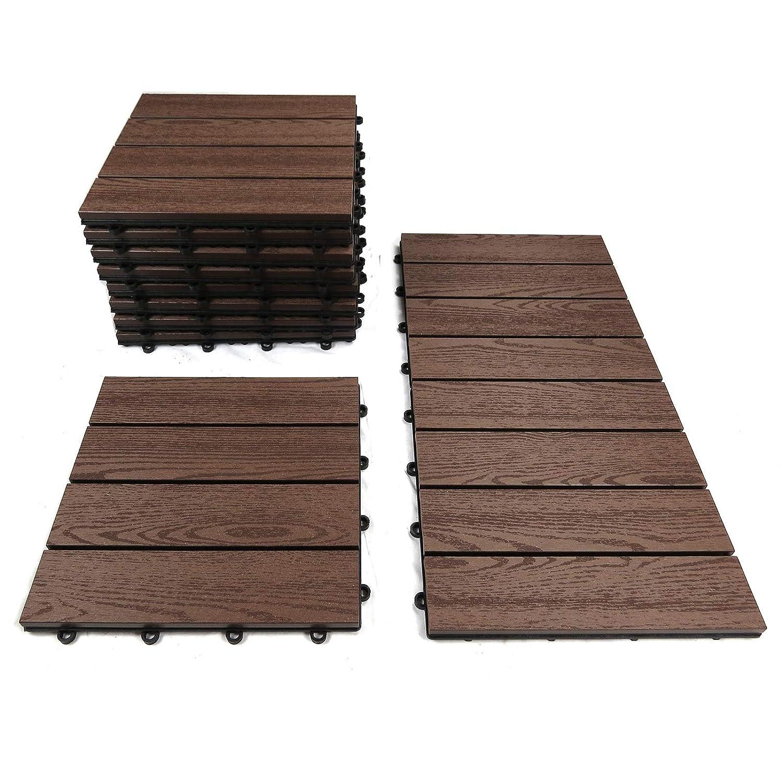 8 pezzi in legno con bordi in legno massiccio di acacia - Piastrelle per balcone ...