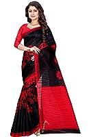 Sugathari Sarees Women's Black and Red Mysore Bhagalpuri Art Silk Saree (Bhagalpuri Sarees 49 Black Red)