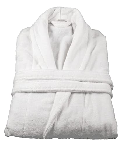 f0dd68e5e4 Image Unavailable. Image not available for. Colour  White 500 GSM Egyptian  Cotton Shawl Collar Terry Towelling Bathrobe ...