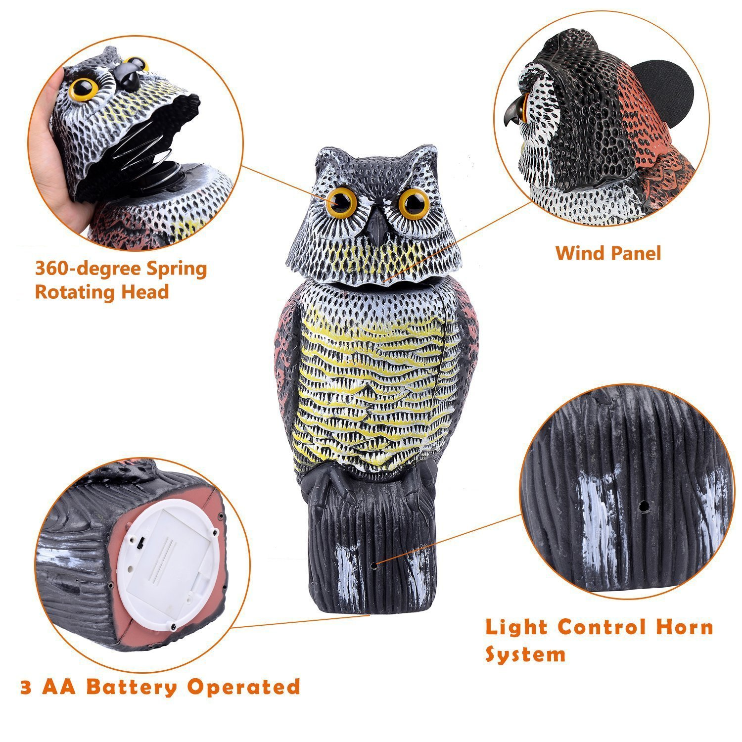 Ohuhu Horned Owl Decoy with Tweet, Light-control System Natural Enemy Pest Deterrent Scarecrow with Rotating Head Pest Control Repellents by Ohuhu (Image #2)