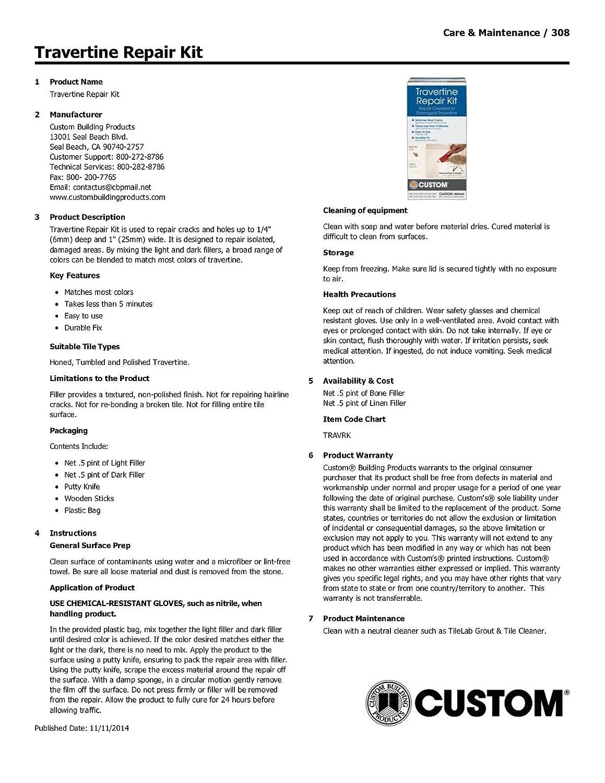 Travertine Repair Kit Amazon