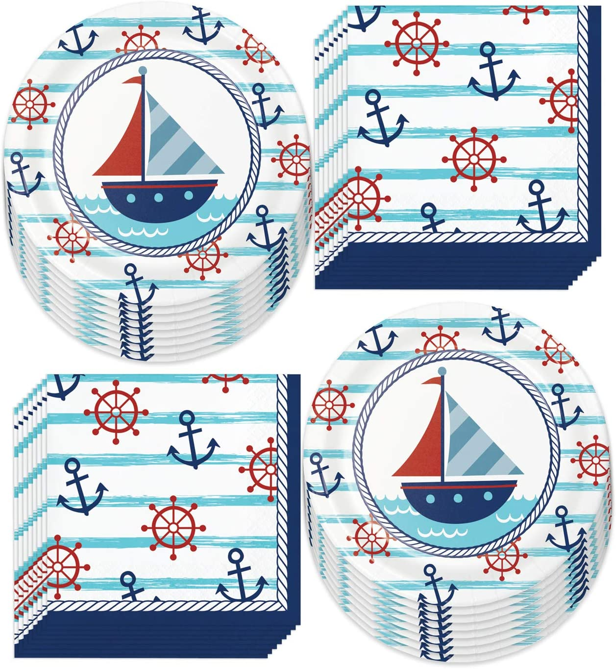 Nautical Party Supplies - Sailing Anchor Paper Dessert Plates and Beverage Napkins (Serves 16)