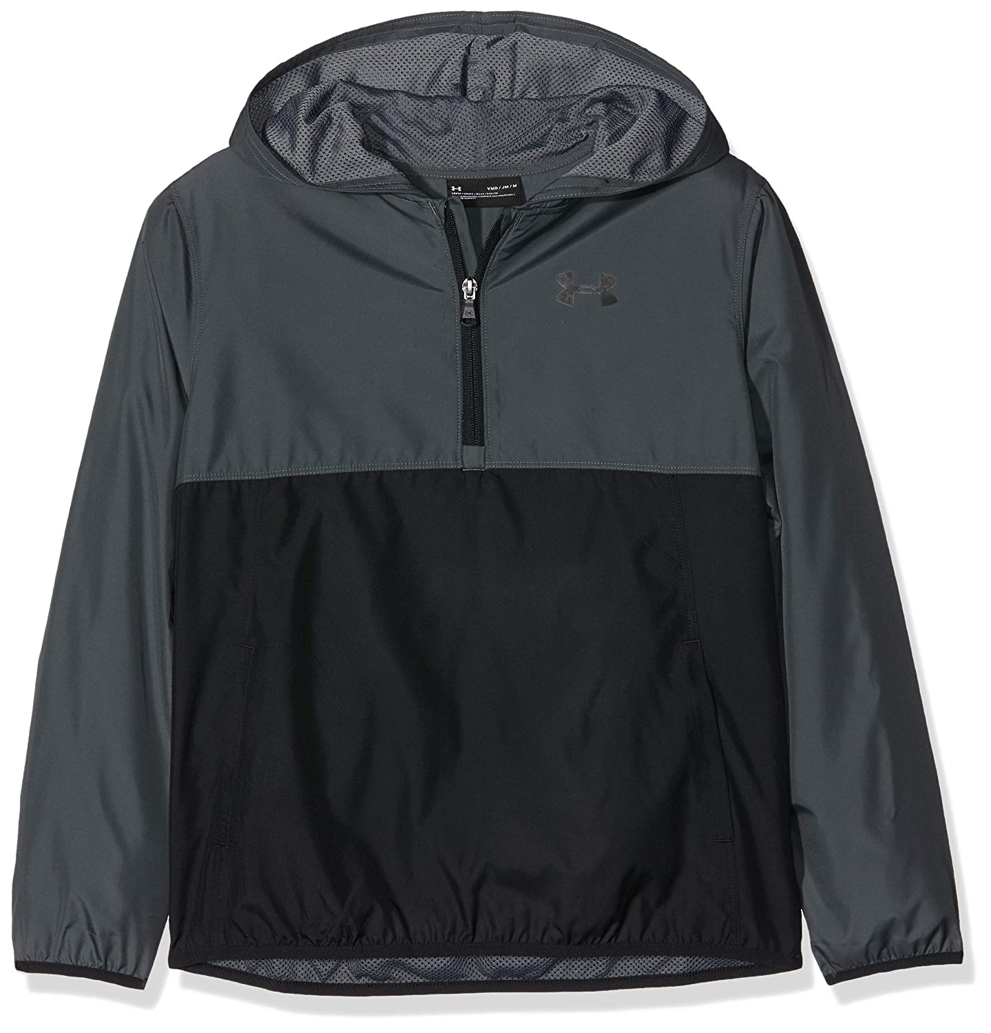Pitch Gray//Black Under Armour Kids Packable 1//2 Zip Jacket Warm-up Top Youth Small