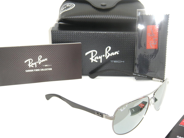 48383e90c91 Amazon.com  Ray-Ban Carbon Fibre RB 8313 004 k6 61mm Shiny Gunmetal   Blue  Mirror Polarized  Shoes