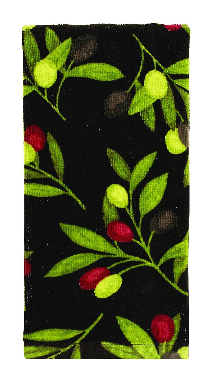"Ritz KitchenWears 100% Cotton Fiber Reactive Printed Kitchen Dish Towel, 16"" x 26"", Olives"