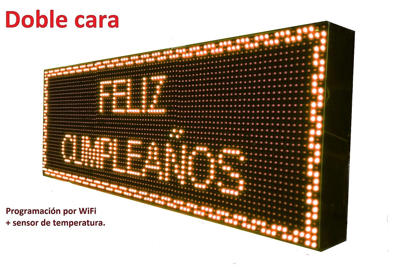 Cartel LED programable WiFi y Temperatura (96x32 cm Doble Cara, Naranja ámbar) Reloj / Pantalla electrónica de Alta luminosidad / Válidos para ...