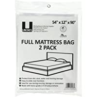 Uboxes Full Mattress Poly Covers, 54 x 12 x 90 in, 2 Pack