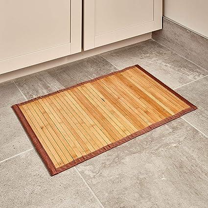 marrone chiaro iDesign Tappeto bagno Tappetino bagno in legno di bamb/ù ideale anche per il corridoio e la cucina Tappeto antiscivolo bagno o cucina impermeabile