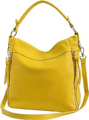 AmbraModa GL030 - Bolso de hombro italiano para mujer en cuero genuino, bolso de mujer, bolso bandolera, bolso hobo