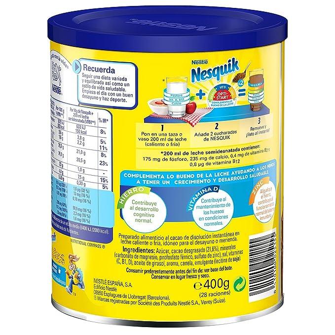 Nesquik - Cacao Soluble Instantáneo - 6 Paquetes de 400 g: Amazon.es: Alimentación y bebidas