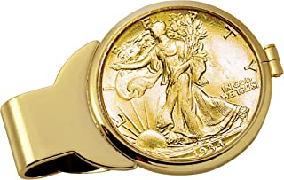 product image for Coin Money Clip - Silver Walking Liberty Half Dollar Layered in Pure 24k Gold | Brass Moneyclip Layered in Pure 24k Gold | Holds Currency, Credit Cards, Cash | Genuine U.S. Coin