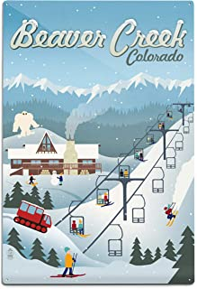 product image for Beaver Creek, Colorado - Retro Ski Resort 94018 (6x9 Aluminum Wall Sign, Wall Decor Ready to Hang)