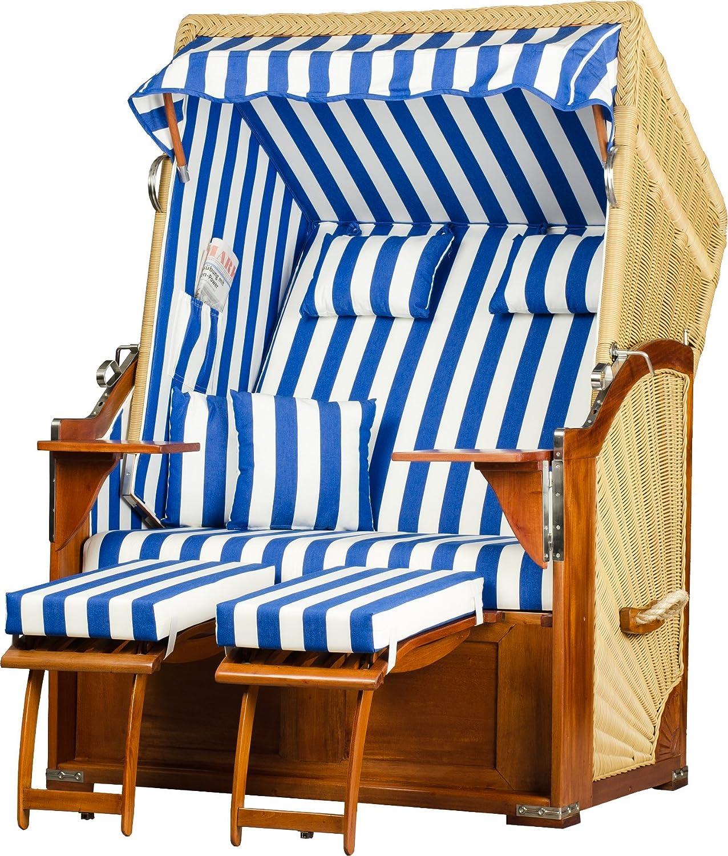 Strandkorb Seeblick Mahagoni PE natur Dessin Blau Weiß