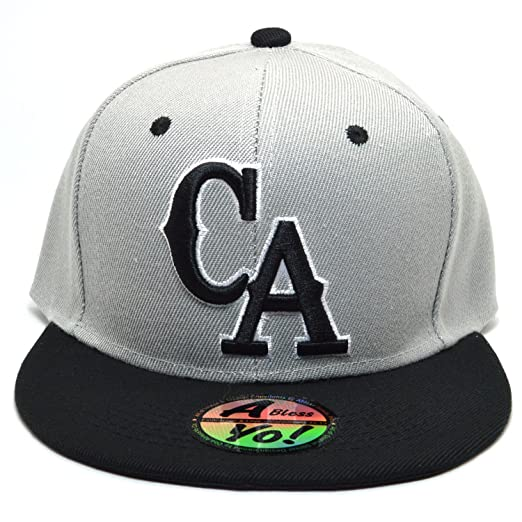 AblessYo CA Stretch Fit Fitted Cap Closed Back Flat Bill California  Snapback Hat AYO4325 (Small 0e9990033509