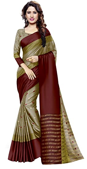 a09dd1cad5 Venisa Women's Handloom Cotton Soft Silk Saree Woven Buti with blouse  Piece(Zarqash_Chikoo_Free Size)