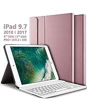 iPad Keyboard Case for iPad 9.7 Inch 2018 (6th Gen) - iPad 2017 (5th Gen) - iPad Pro 9.7 - iPad Air 2 - iPad Air 1, Thin Case with Detachable Wireless Keyboard, Auto Wake/Sleep - Rose Gold