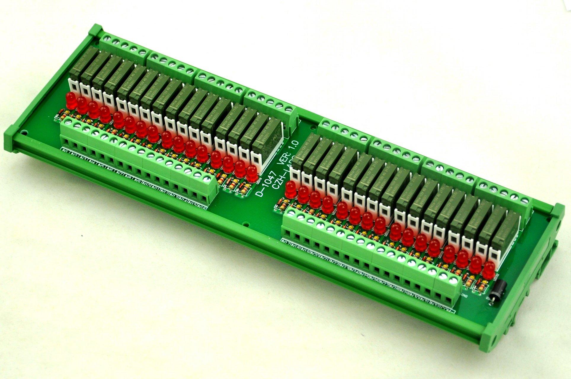 ELECTRONICS-SALON Slim DIN Rail Mount DC12V Source/PNP 32 SPST-NO 5A Power Relay Module, PA1a-12V