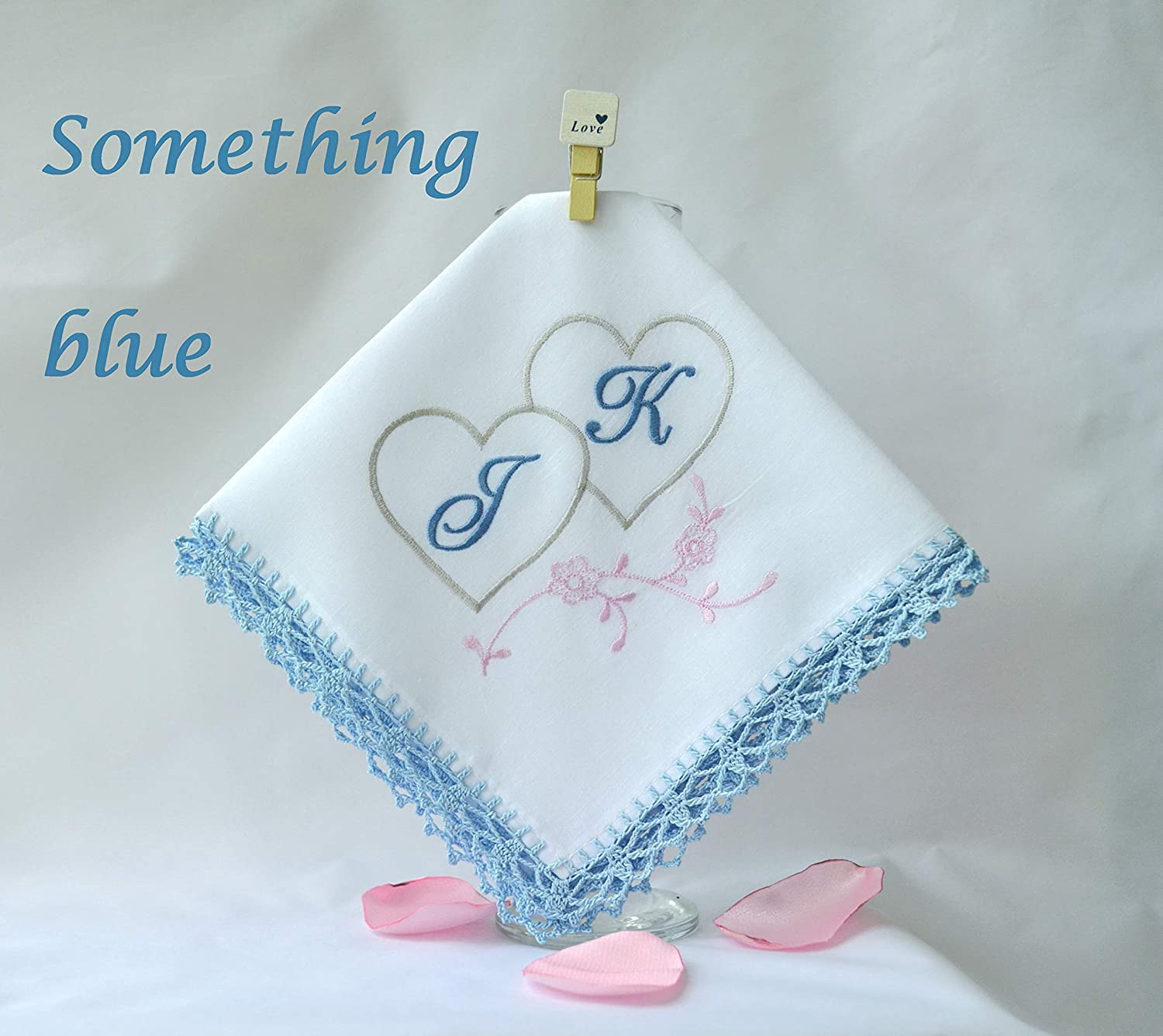 B07G9Q1T4H Personalized Monogrammed Handkerchief for Her Something Blue hankerchief for Couple Monogram Gift 81csJAfInAL