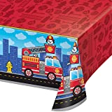 Fire Truck Plastic Tablecloths, 3 ct