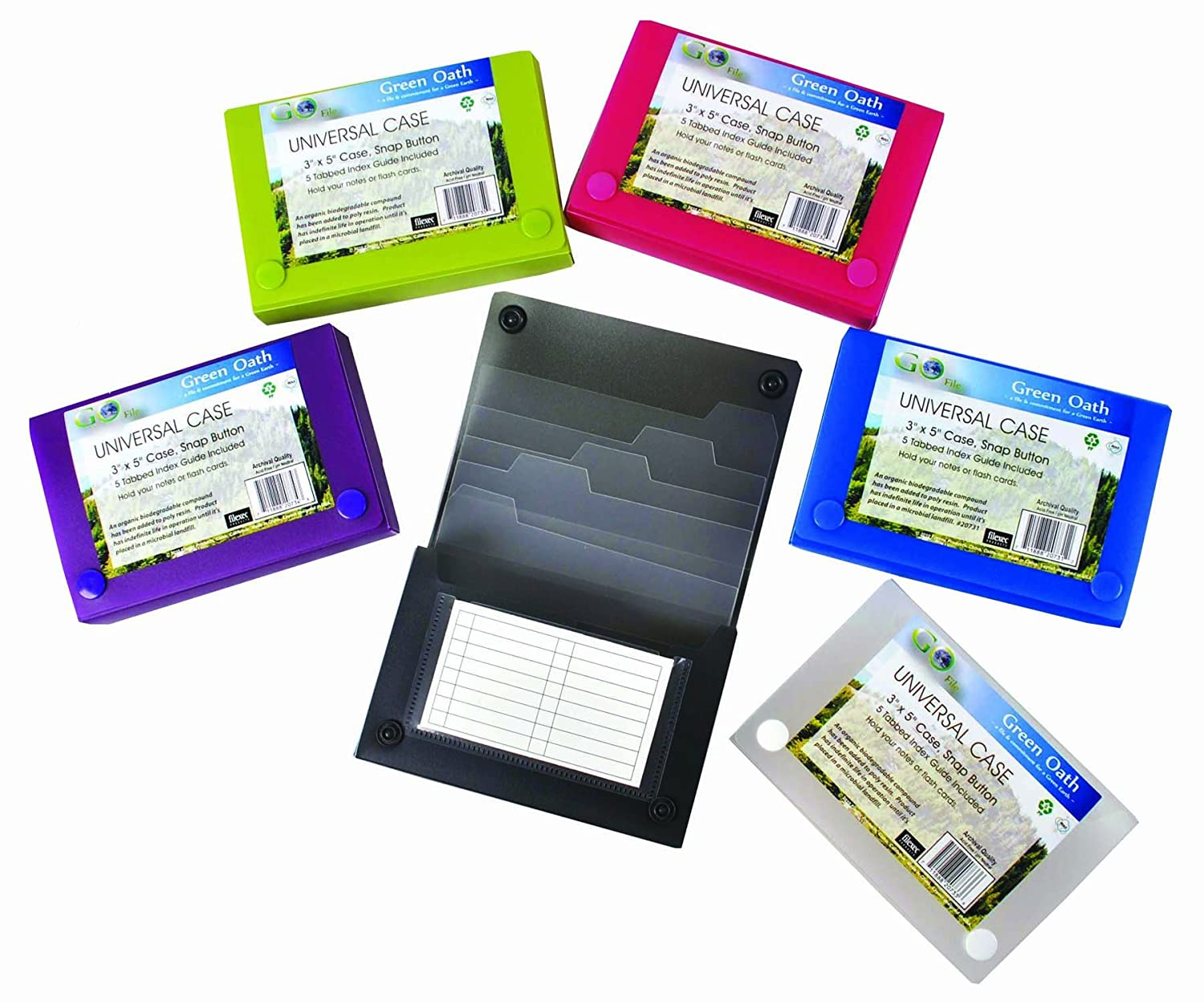 Green Oath 3 x 5 Inches Index Card Case, 5 Individual Index Dividers, Snap Button Closure, Set of 12 in 6 Assorted Colors, 2 Each of Blue, Hot Pink, Snow, Purple, Green, Graphite (50250-2073) Rim Pacific Inc.