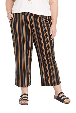4bb533e5821d maurices Women's Plus Size Stripe Pull On Wide Leg Pant at Amazon Women's  Clothing store: