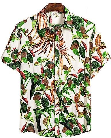 Lovely-Star - Camisa de verano hawaiana de algodón de manga corta para mujer, talla grande europea: Amazon.es: Ropa y accesorios